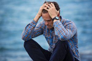 Broken man after a relationship breakup