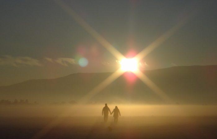Sunset Couple Holding Hands Walking Love Romantic
